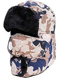ITODA Caldo Cappello da Pescatore Invernale Cappello in Pelliccia Sintetica  Bomber Antivento con paraorecchie e Protezione eb1bf2a90f44