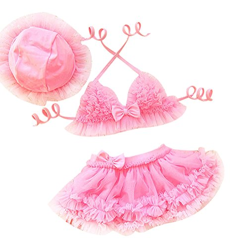 LOSORN ZPY 3tlg Baby Neckholder Bunte Bikini Tankini Set Schwimmanzug Badeanzug Bademode (80: 2-3 Jahre, Rosa)