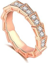 Impression 1PCS Ringe Ring Serpentino Diamanten-Ring Diamanten Mode-Ring Schmuck-Girl Zubehör Valentinstag Geschenke aus Glas Hochzeit Ring offen Gold Rosa