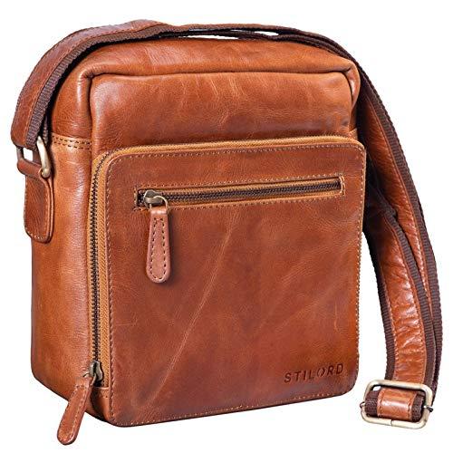 STILORD 'Nathan' Umhängetasche Herren Leder klein braun Vintage Herrentasche 10,1 Zoll Tablettasche für iPad echtes Leder, Farbe:Cognac - glänzend
