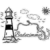 Badezimmer Leuchtturm Anker Delfin Sonne Tür Aufkleber Wandtattoo Sticker Wall Tattoo