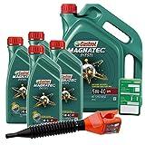 4x 1 L + 5 L = 9 Liter Castrol Magnatec Diesel 5W-40 DPF Motor-Öl inkl. Ölwechsel-Anhänger und Einfülltrichter