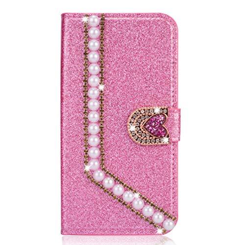 Miagon Hülle Glitzer für iPhone 8/7,Luxus Diamant Strass Perle Herz PU Leder Handyhülle Ständer Funktion Schutzhülle Brieftasche Cover,Rosa