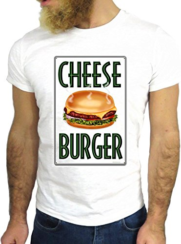 T-SHIRT JODE GGG24 Z1239 CHEESE BURGER FOOD FASHION COOL GREAT AMERICA UK US COLORS BIANCA - WHITE