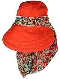 6497eba7bcd Phenovo Women Sun Hat Face Protective Anti-UV Wide Brim Visor Foldable Cap  Orange