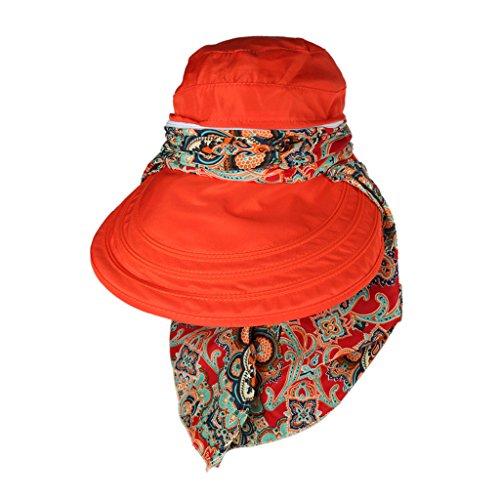 Femmes Soleil Face Chapeau de Protection Anti-UV Large Visière Bord Capuchon Pliable Kaki - orange