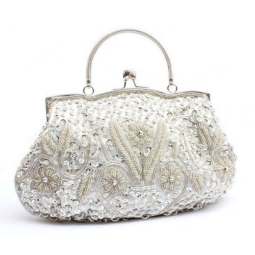 H:oter® Collection Damen Handgemachte Perle Handtasche, Abendtasche Damen Clutch Für Party, Hochzeit Silber