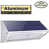 Licwshi 1100 lumens lampe solaire 48LED 4500mAh avec coque en alliage d'aluminum, imperméable en plein air, radar-détection de mouvement, s'appliquant au porche, jardin, cour,- blanche chaude (1 Pack)
