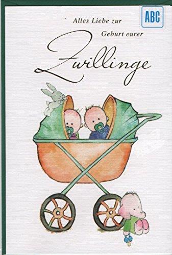 """Karte\""""Alles Liebe zur Geburt eurer Zwillinge\"""", B6 + Umschlag"""