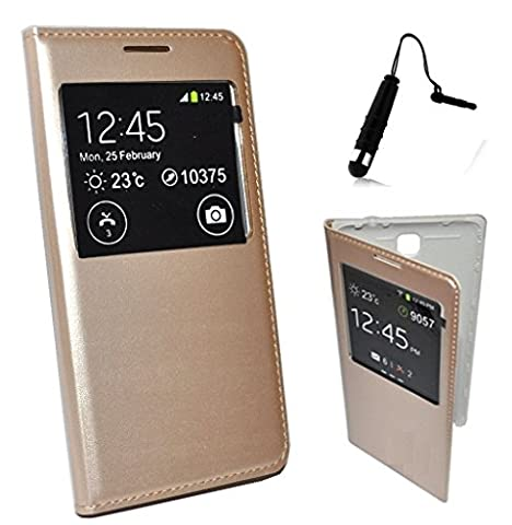 Étui Housse Folio Coque SAMSUNG GALAXY S5 NEO S5 G900F S VIEW COVER OR DORÉ GOLD + 1 stylet offerts - by Campus Telecom®