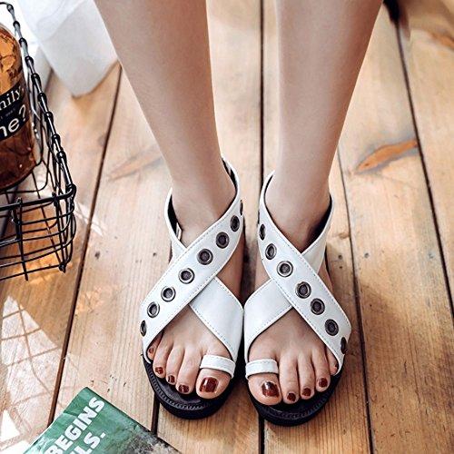 COOLCEPT Damen Mode Slip On Sandalen Kreuz Schuhe Mit Zipper White