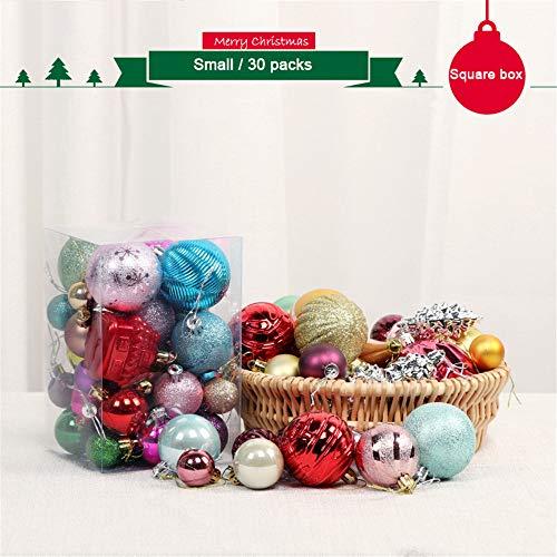 65 pezzi palline per albero di natale, morbuy palle di natale in plastica scatola porta applique ornamenti festa decorazioni natalizie albero palle per matrimoni (piccoli / 30 confezioni)