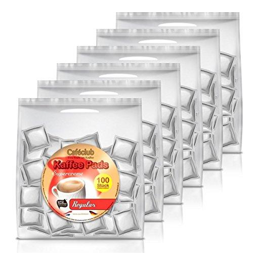 6x Cafeclub Regular Kaffeepads Megabeutel je 100 stk. normale Röstung einzeln verpackt