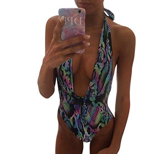 Huihong Damen Badeanzug Einteiler Leoparden-Druck Tief V Ausschnitt Rückenfrei Neckholder Monokini Beachwear Bademode (Multicolor, L)