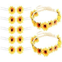 HUAESIN 12Pcs Flores para el Pelo Girasol Diadema Flores Mujer y Horquillas Flores de Girasol Corona Clips de Pelo Flores Pinzas para el Pelo de Flores Accesorios Girasol Dcoracion para Bebe Niñas