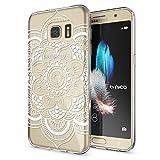 NALIA Handyhülle für Samsung Galaxy S7, Slim Silikon Motiv Case Hülle Crystal Schutzhülle Dünn Durchsichtig, Etui Handy-Tasche Back-Cover Transparent Bumper für Samsung S7, Designs:Pattern Flowers