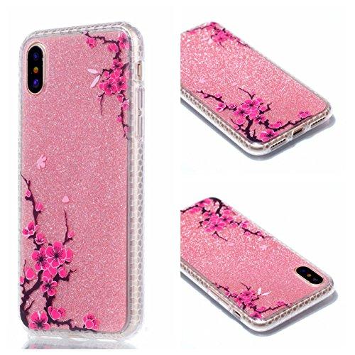 Cover Apple iPhone X, Voguecase Custodia Silicone Morbido Flessibile TPU Custodia Case Cover Protettivo Skin Caso in IMD design (fiore Skull 06) Con Stilo Penna Plum 13
