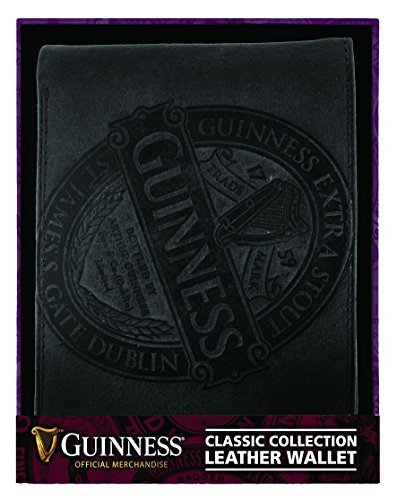 Classic Leather Classic Wallet (Guinness Black Leather Wallet With Classic Collection Label Design)