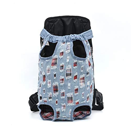 DJG Leichte Cowboy Pet Brusttasche für unterwegs Tragbare Schulter Brusttasche Easy-Fit für unterwegs Wandern Camping für kleine mittelgroße Hunde-Hellblau,XL