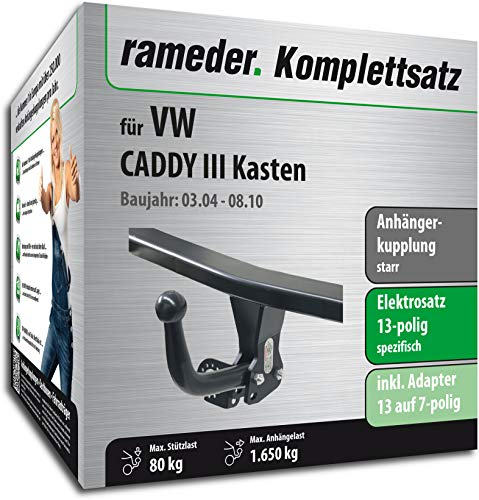 Rameder Komplettsatz, Anhängerkupplung starr + 13pol Elektrik für VW Caddy III Kasten (112995-05083-1)