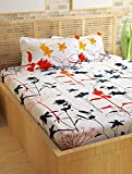 #10: Story@Home 100% Cotton Double Bedsheet With 2 Pillow Covers Combo Set, Mercerized Finish - Metro Series, 186 TC, Floral (White)