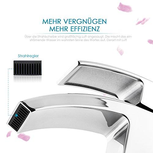 HOMFA Waschtischarmatur Einhelbel Wasserhahn Armatur wasserfall für Badezimmer Waschbecke -