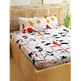 Story@Home 100% Cotton Double Bedsheet With 2 Pillow Covers Combo Set, Mercerized Finish - Metro Series, 186 TC, Floral (White)
