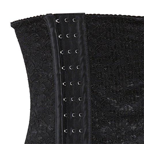 Women's Latex Sport Girdle Waist Cincher Spiral Steel Boned Corset Waist Shaper Black