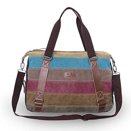 Minetom Damen Mädchen Vintage Universal Canvas Schultertasche Handtasche Multifunktion Regenbogen Design A01