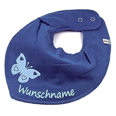 HALSTUCH SCHMETTERLING mit Namen oder Text personalisiert taubenblau für Baby oder Kind (Schmetterling Tuch Lätzchen)