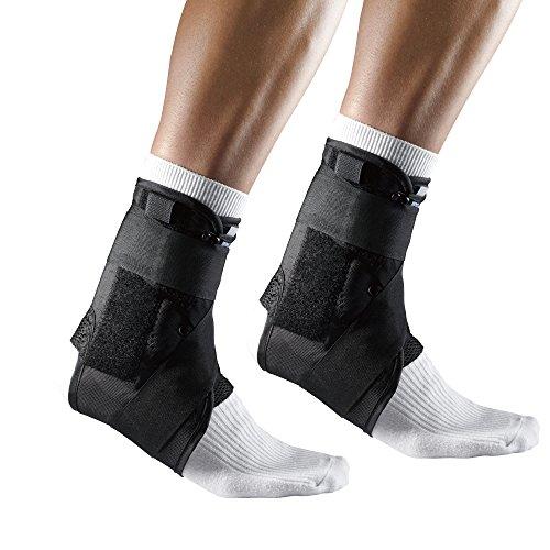 LP Support Sprunggelenkbandage mit Stabilisierungsbändern, Knöchel-Bandage, Fuß-Stütze für Sport und Alltag, Fußgelenks-Orthese, Größe:M - 1 Paar, Farbe:schwarz