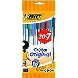 Bic Cristal Stylo-bille 6 Noir 12 Bleu 5 Rouge 4 Vert 20+7 Gratuits