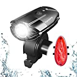 Fantany 800 Lumen 2000mAh Super Bright Mountain Bike Lights Set, Rechargeable LED Bike Front Light, with FREE Rechargeable Tail Light, Bicycle Lights Front and Rear set, Bike Helmet Light IP65 Waterproof