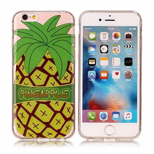 iPhone 6 / 6s Hülle, E-Lush TPU Soft Silikon Tasche Transparent Schale Clear Klar Hanytasche für iPhone 6 / 6s Durchsichtig Rückschale Ultra Slim Thin Dünne Schutzhülle Weiche Flexibel Handyhülle Krat Big Pineapple