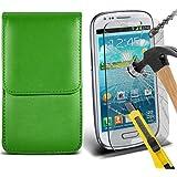 Fone-Case ( Green ) Samsung galaxy S3 Mini étui Cover Case Brand New Luxury Cuir Side Faux PU Vertical Pull Tab Pouch Housse de la peau avec Protecteurs d'écran en verre trempé Crystal Clear LCD