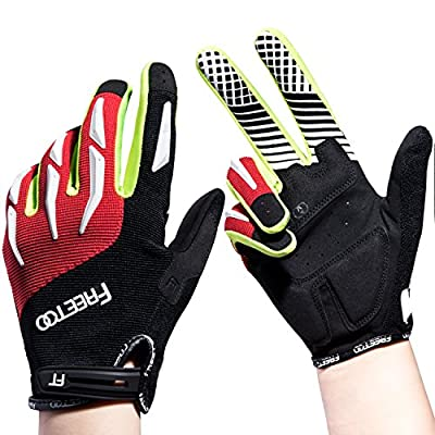 FREETOO Cycling Gloves Full Finger Cycling Gloves Riding Bike Mountain Climbing Gloves Men Women Work Gloves breathable elastic and protective ideal for Riding Hiking Climbing Camping black and red by FREETOO