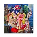 """Pintura Lienzo al Óleo Arte Abstracto Moderno """"AMOR EN NUEVA YORK"""" por DOBOS, Cuadro Original para..."""