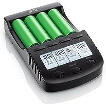 Aplic - Cargador de baterías / pilas recargable | Estación de carga de pilas universal / Intelligent 4 Bay Battery Charger | Para baterías de iones de litio/18650/ Ni-MH/Ni-CD | Corriente de carga 300 mA, 500 mA, 700 mA o máx. 1000 mA | Pantalla LCD con iluminación de fondo + Auto Light Off | Incl. 1x puerto de carga USB| Supervisión de la carga controlada por microprocesadores | Protección contra inversión de polaridad | Detección de pilas defectuosas | Negro