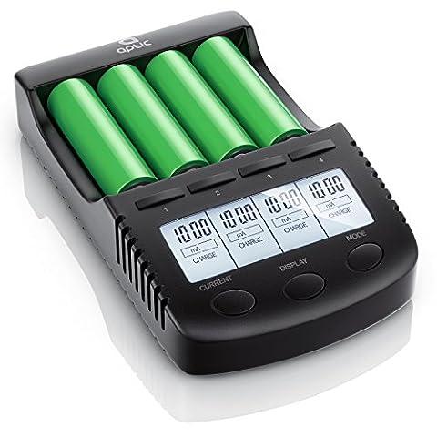 Aplic - Chargeur pour batteries rechargeable (accus) par port USB   Station de recharge universelles à 4 baies intelligent   pour piles rechargeable / batteries Li-ion/18650/ Ni-Mh/Ni-Cd   Courant de charge 300 mA, 500 mA, 700 mA ou max. 1000 mA   Écran LCD éclairé + Light-off automatique   Surveillance de charge par commande par microprocesseur   Protection d'inversion de polarité des batteries   Reconnaissance de défauts de batteries   noir