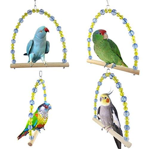 Longyu parrot bird stand bar, scaletta girevole giocattolo da masticare palline colorate altalena stazione per uccelli forniture gabbia per cockatiel amaca altalena giocattolo per animali