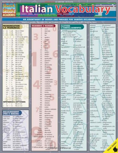 Italian Vocabulary Laminate Reference Chart (Quick Study Academic)