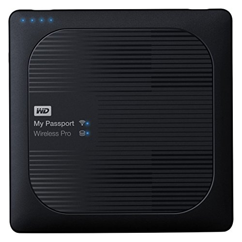 Digitale Externe Usb (WD My Passport Wireless Pro 2TB, drahtlose tragbare externe Festplatte mit USB Power bank, SD 3.0 Kartenleser, SATA, WDBP2P0020BBK-EES)