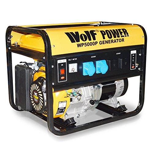 Wolf Power WP5000P, 11HP, 5000 Watt, 6.25 KVA, 4 Stroke Petrol Powered Generator Heavy Duty Single Voltage
