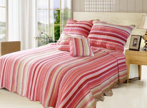 Dada Betten dxj101824Atemberaubende Quilt Set 5tlg., Gestreift, Polyester-Mischgewebe, rose, California King