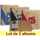 Lot de 3 albums photos Erica Kraftty à pochettes 11,5x15 pour 200 photos - Bleu Noir Rouge