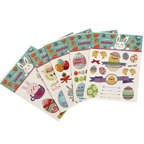 INVOKER Aufkleber für Kinder & Kleinkinder Ostern Theme Tattoo Aufkleber Inklusive einschließlich Ostereier Korb Blumen Küken Hasen usw. 100% sicher und Nicht toxisch