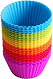 Cupcake Molds | BluFied 24 Pack Silicone Reusable Baking Cases Muffin Molds Moulds Rainbow Cups for Cakes Ice Creams Puddings