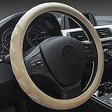 XuanMax Universal Funda de Volante Coche Cuero Microfibra En Relieve Estereoscopico Respirable Cubre Volante Piel Vehiculo Cubierta del Volante Envoltura Protectora Antideslizante Auto Rombo Steering Wheel Cover 38cm - Beige