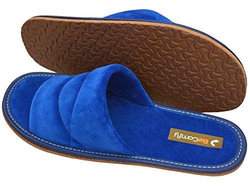 Hausschuhe Baumwolle Damen Pantolette Komfort Pantoffeln Latschen Modell DN08 Blau