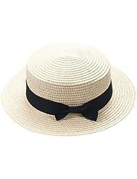 ZARLLE Sombrero De Paja ala Ancha Paja Bowknot Transpirable Sombrero  Sombreros para El Sol del Verano d3198ce649d